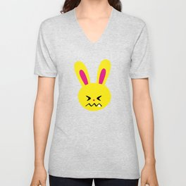 One Tooth Rabbit Emoticons Confounded Bunny Face Unisex V-Neck
