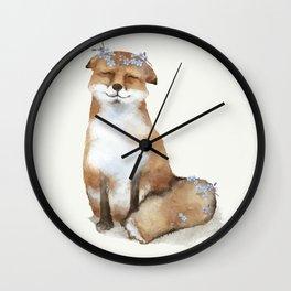 Colorful Baby Fox Wall Clock