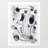 georgiana paraschiv Art Prints featuring ink flowers by Georgiana Paraschiv
