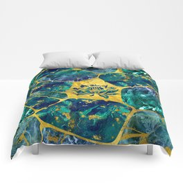 Lotus Flower on Gemstone Crystal Voronoi diagram Comforters