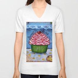 Cupcake, Cupcake Art, Mixed Media, by Faye Unisex V-Neck