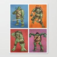 teenage mutant ninja turtles Canvas Prints featuring Teenage Mutant Ninja Turtles by Alex Santaló