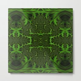 Green fractal abstraction Metal Print