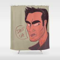 derek hale Shower Curtains featuring Derek by The Art of Nicole