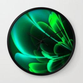 Stylized Half Flower Green Wall Clock