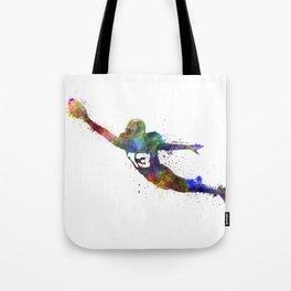 american football player man scoring touchdown silhouette Tote Bag