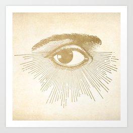 I See You. Vintage Gold Antique Paper Art Print