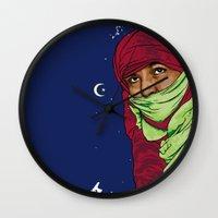 palestine Wall Clocks featuring SAHARA LIBRE by Thekrakenshirt