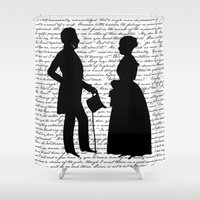 pride and prejudice Shower Curtains featuring Pride and Prejudice design - White by Evie Seo