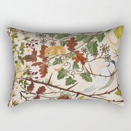 Marsh Tit and Field Mice Rectangular Pillow