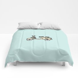 Surfer Bike Vespa Comforters