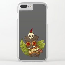 Tiki Mask Clear iPhone Case