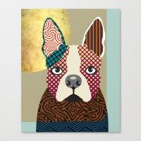 boston terrier Canvas Prints featuring Boston Terrier  by Lanre Studio