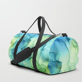 Blue Green Spring Marble Abstract Ink Painting Duffle Bag