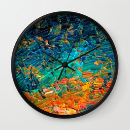 ETERNAL TIDE 2 Rainbow Ombre Ocean Waves Abstract Acrylic Painting Summer Colorful Beach Blue Orange Wall Clock