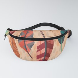 Native American, Colorful Feathers Fanny Pack