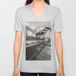 Underground Escalator in Motion Unisex V-Neck