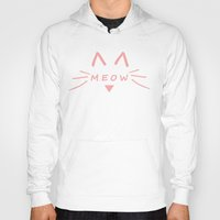 meow Hoodies featuring Meow by Cat Attack