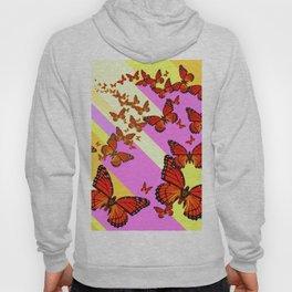 Sun Light Beams Butterflies Migrating Pink-yellow Hoody
