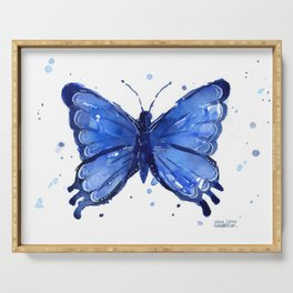 Butterfly Blue Watercolor Animal Painting Serving Tray