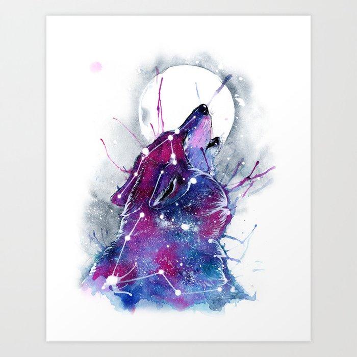 Galaxy Wolf Art Print By Rubisfirenos Society6