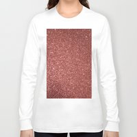 rose gold Long Sleeve T-shirts featuring ROSE GOLD GLITTER by I Love Decor