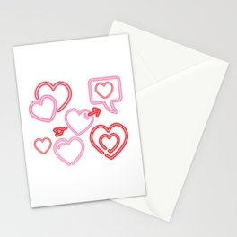 Neon Hearts Stationery Cards