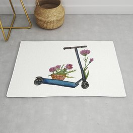 Push Scooter & Flowers Rug