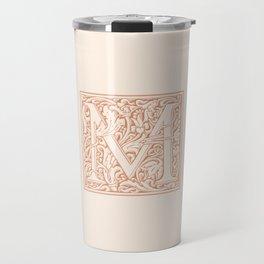 Monogram Letter M in Pink Travel Mug