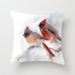 Northern Cardinal Birds Couple Throw Pillow
