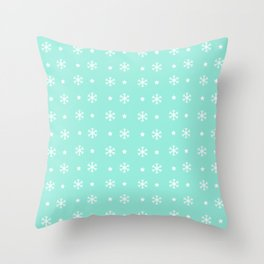 Seafoam Blue background with white snowflakes and stars pattern Throw Pillow