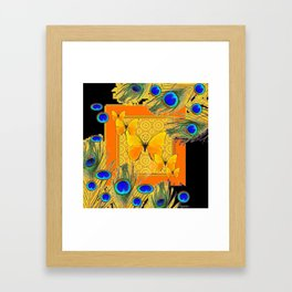 Golden Butterflies & Blue  Peacock Feathers On Black Framed Art Print