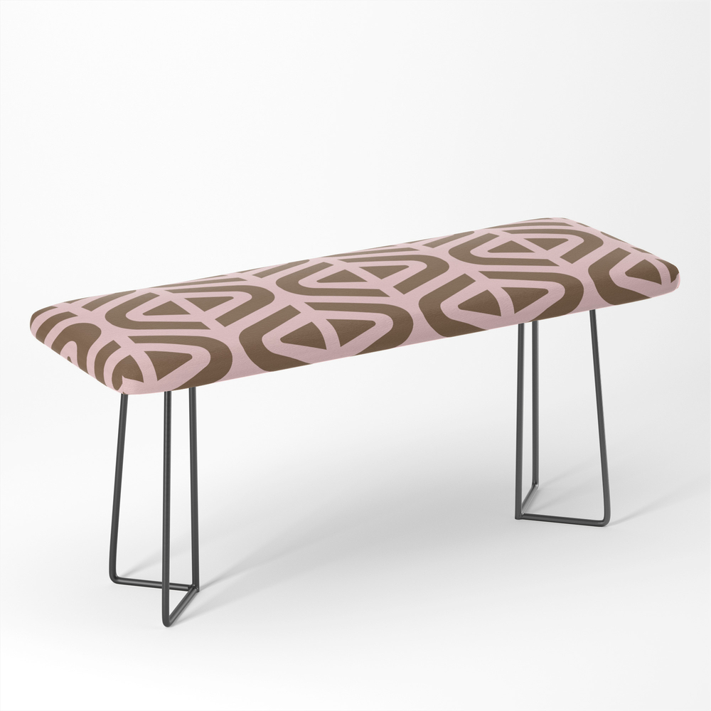 Mid_Century_Modern_Split_Triangle_Pattern_Pink_and_Brown_Bench_by_tonymagner