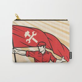 worker holding a flag - industry poster (design for labor day) Carry-All Pouch