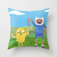 finn and jake Throw Pillows featuring Finn And Jake! by Ben Morgan