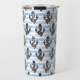 Cute stripe anchor with rope cartoon seamless pattern. Travel Mug