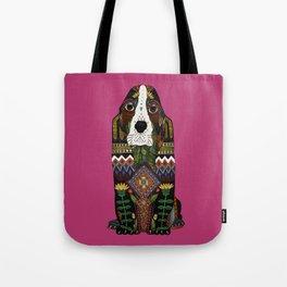 Basset Hound fuchsia pink Tote Bag