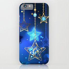 Gold Crescent on Blue Background iPhone Case