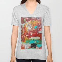 Contemporary Palette Knife Abstract Plaid 7 - Autumn Unisex V-Neck