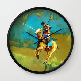 poloplayer abstract turquoise ochre Wall Clock