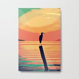 Living Coral & Teal Tropical Sunset Waters Metal Print