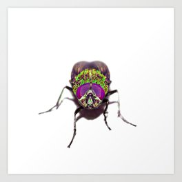 Purple Green Pschedelic Fly Art Print