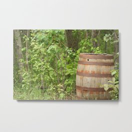 Antique Wood Barrel Left in a Forest Metal Print