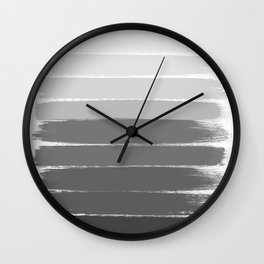 Portia - black and white gradient ombre brushstroke painting minimal art decor Wall Clock