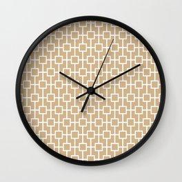 Tan Lattice Pattern Wall Clock