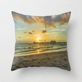 Naples Pier Sunset Throw Pillow