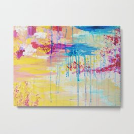 BRIGHTER DAYS - Beautiful Soft Pastel Colours Painting Rain Cloud Sunny Sky Abstract Nature Acrylic Metal Print