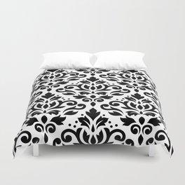 Scroll Damask Big Pattern Black on White Duvet Cover