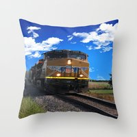 train Throw Pillows featuring Train by Phil Flaig