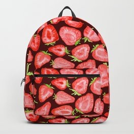 Fresh strawberry slices watercolor dark bg Backpack